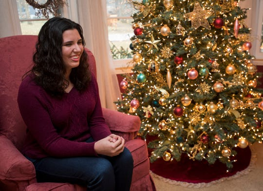 Alexandra Allers, a senior at Port Huron Northern, talks Wednesday, Dec. 12, 2018 in her family's home in Fort Gratiot. Alexandra, who's blind, won the 2019 Yes I Can Award, given by the Council for Exceptional Children for creating a video talking about the technology she uses in school.