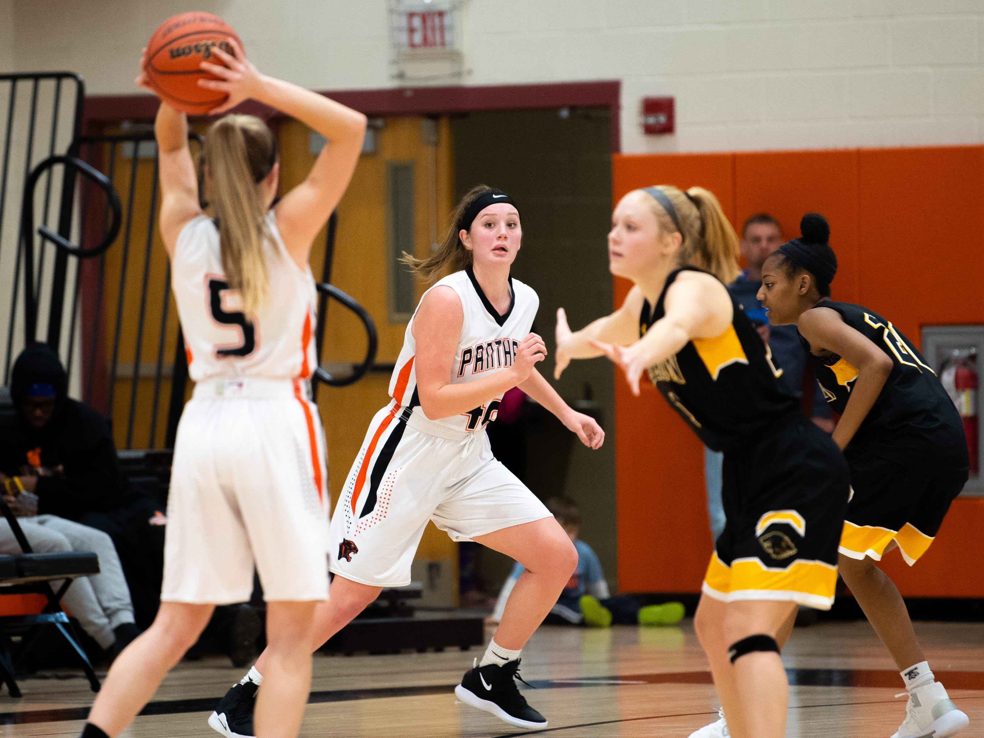 Emily Prowell (42) cuts to the basket during the girls' basketball game between Central York and Red Lion at Central York, Tuesday, December 11, 2018. The Panthers defeated the Lions 40-38.