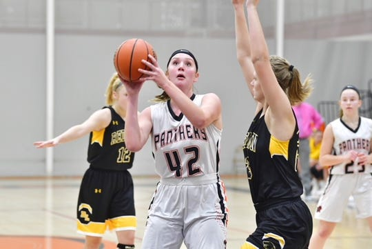 Central York's Emily Prowell goes up for a layup during the Panthers' 40-38 overtime win over Red Lion on Tuesday.