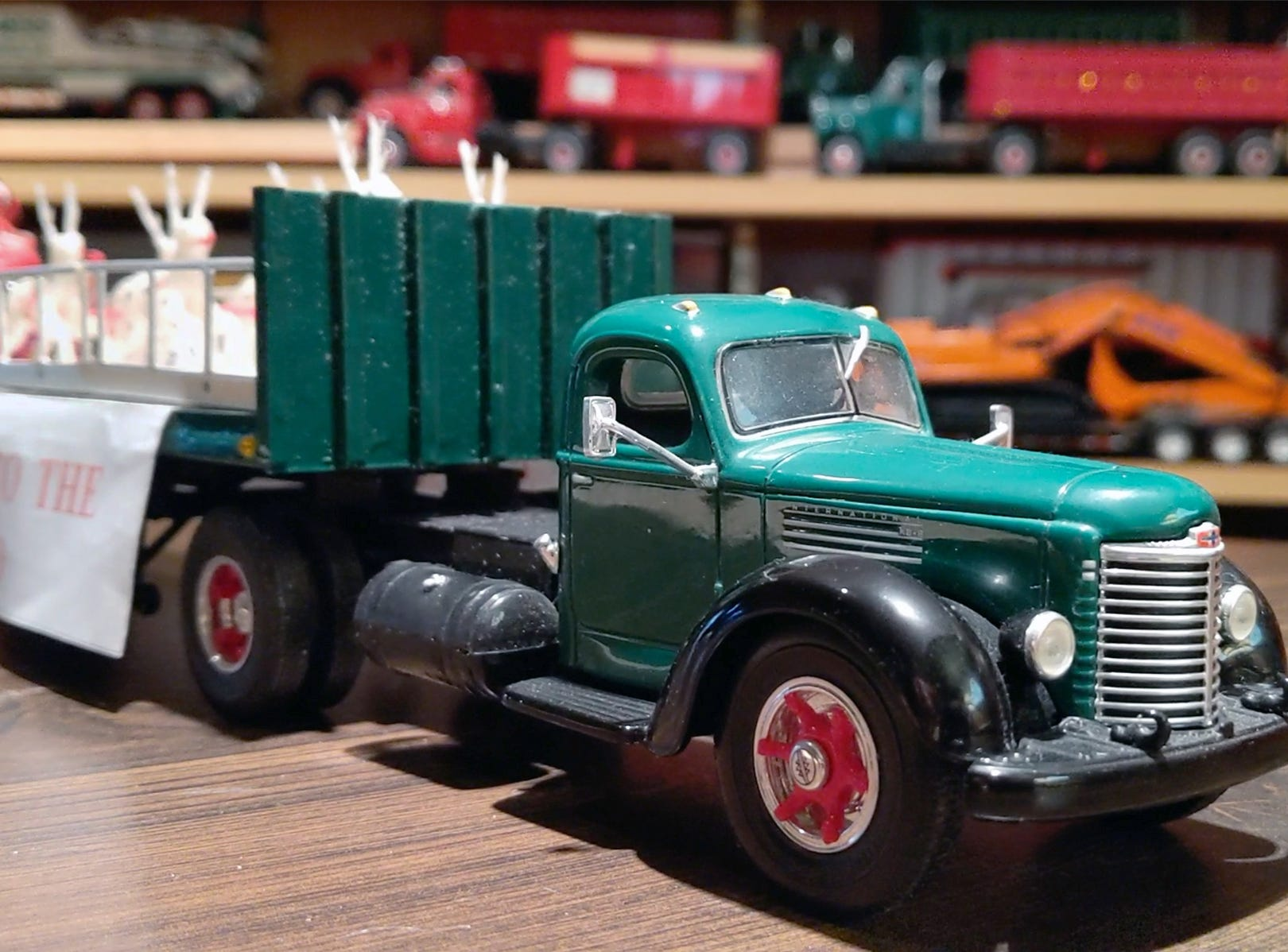 This is a detail shot of the International truck that was used to pull Santa to The Bon-Ton.