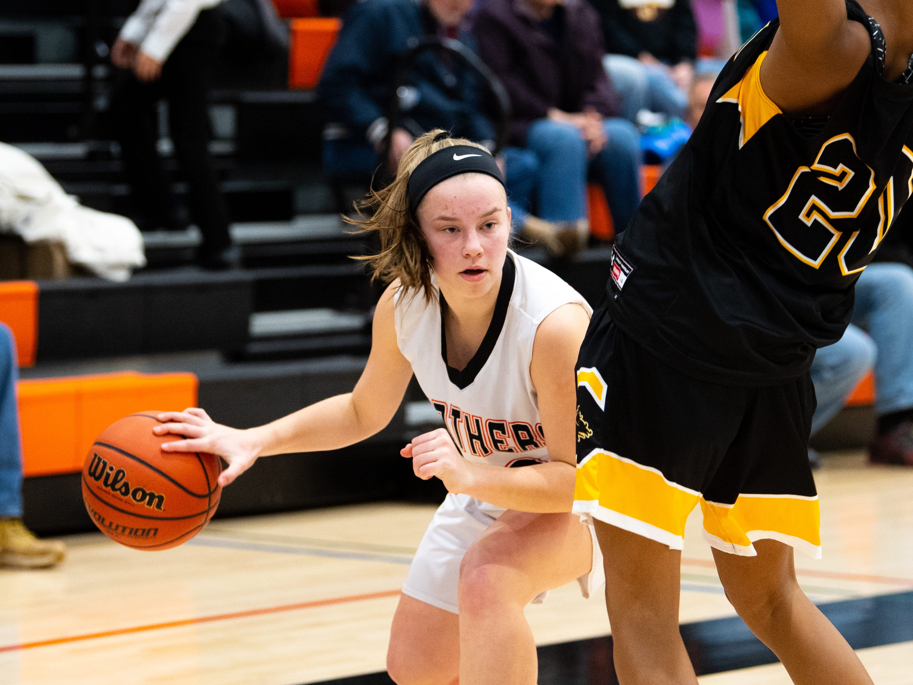 Sarah Berman (23) clears some space during the girls' basketball game between Central York and Red Lion at Central York, Tuesday, December 11, 2018. The Panthers defeated the Lions 40-38.