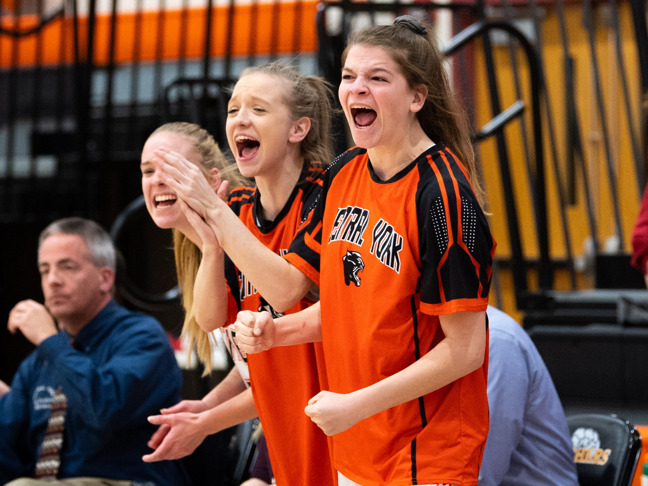 Central York celebrates after a crucial score during the girls' basketball game between Central York and Red Lion at Central York, Tuesday, December 11, 2018. The Panthers defeated the Lions 40-38.