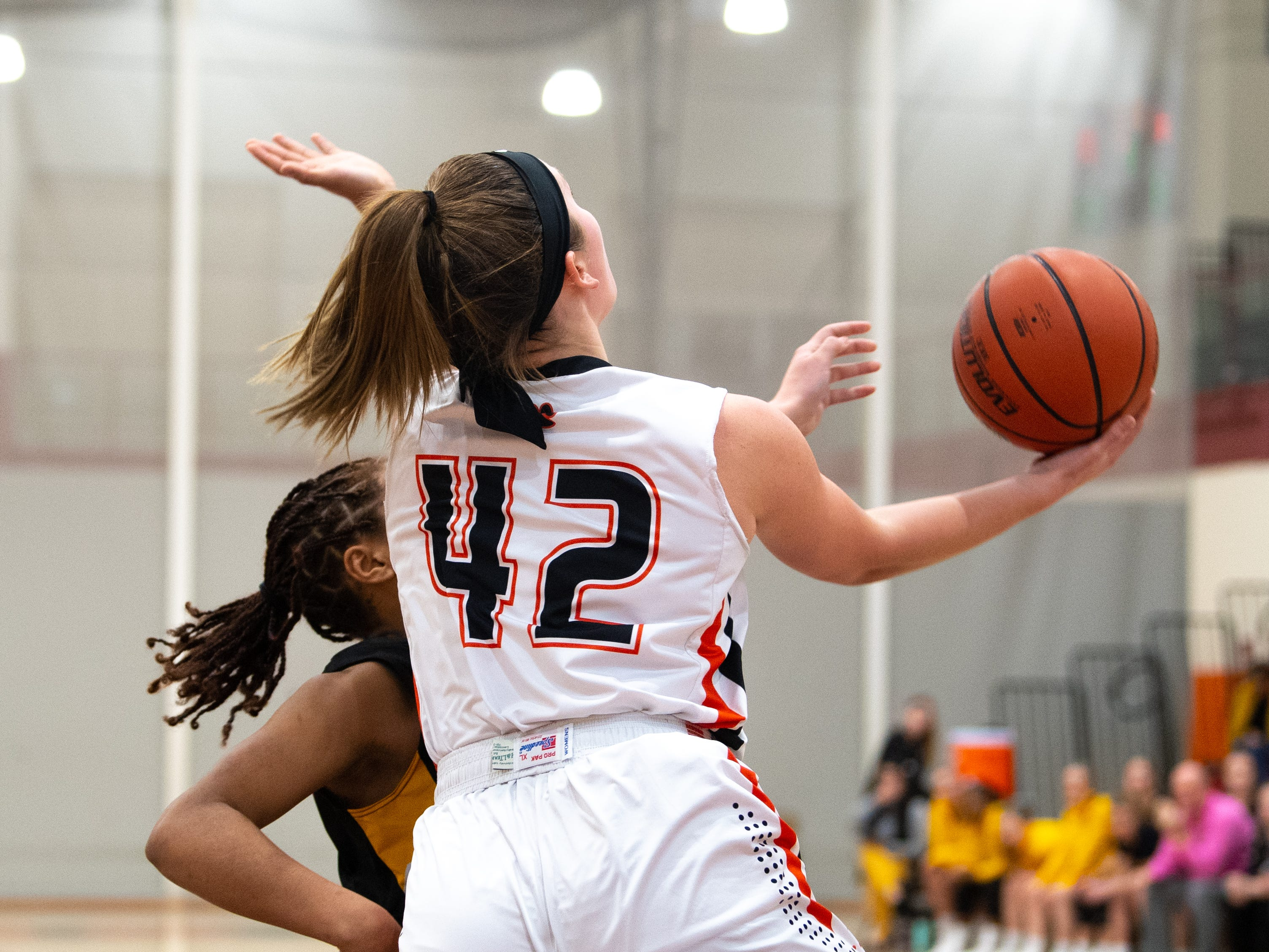 Emily Powell (42) goes up for the reverse lay up during the girls' basketball game between Central York and Red Lion at Central York, Tuesday, December 11, 2018. The Panthers defeated the Lions 40-38.