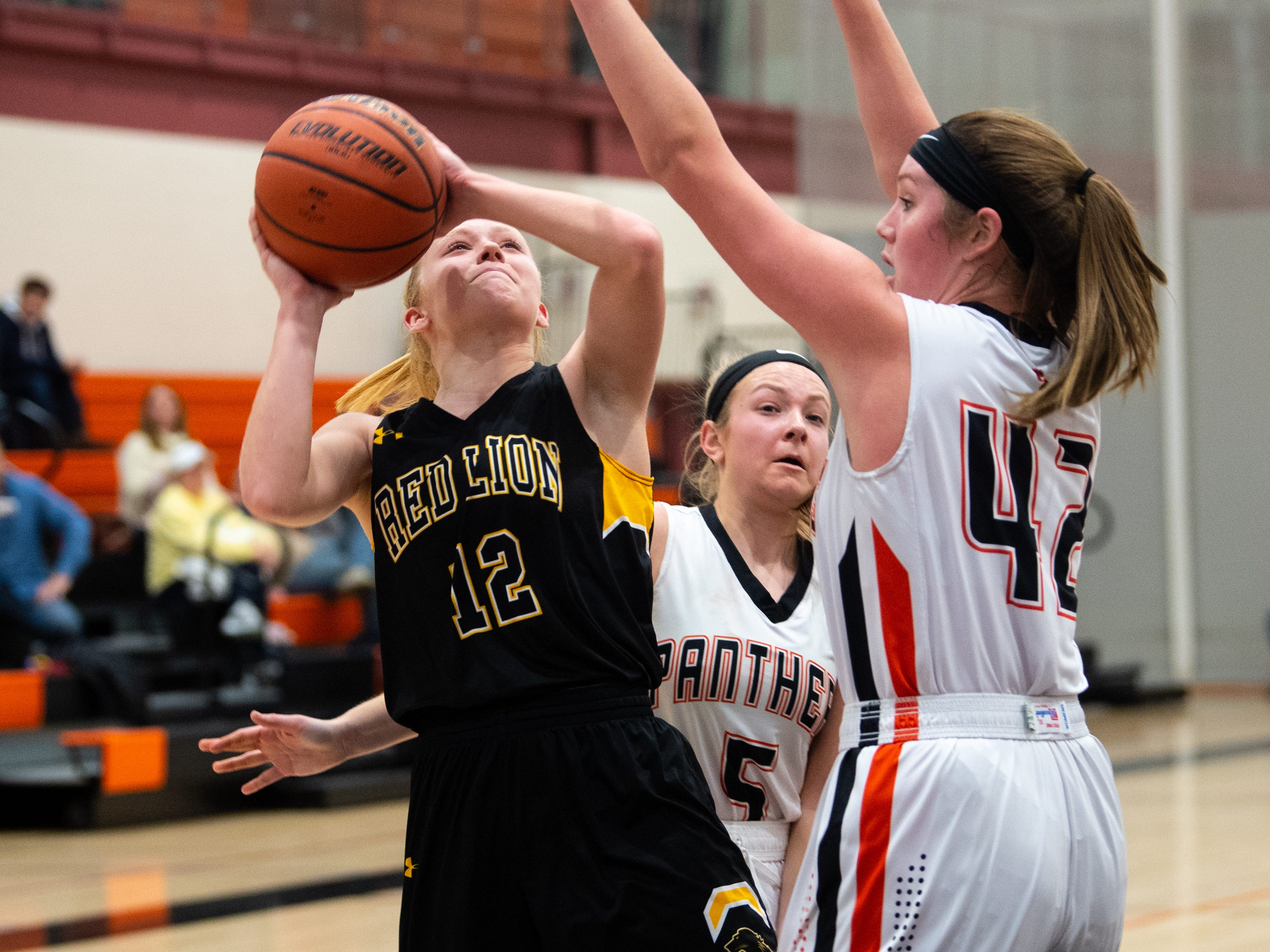 Paige Frey (12) tries to get a shot off during the girls' basketball game between Central York and Red Lion at Central York, Tuesday, December 11, 2018. The Panthers defeated the Lions 40-38.