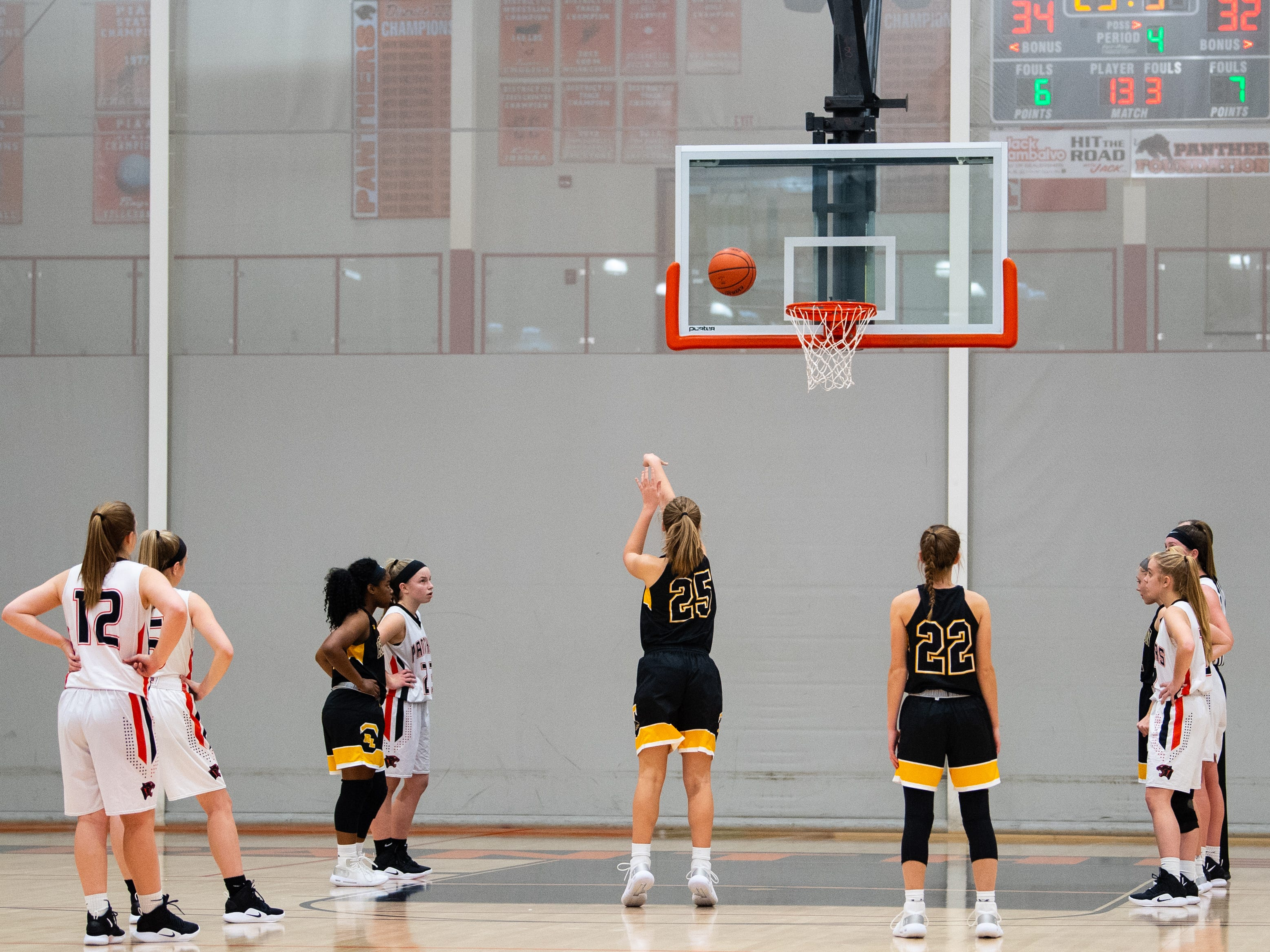 Red Lion takes the free throw during the girls' basketball game between Central York and Red Lion at Central York, Tuesday, December 11, 2018. The Panthers defeated the Lions 40-38.