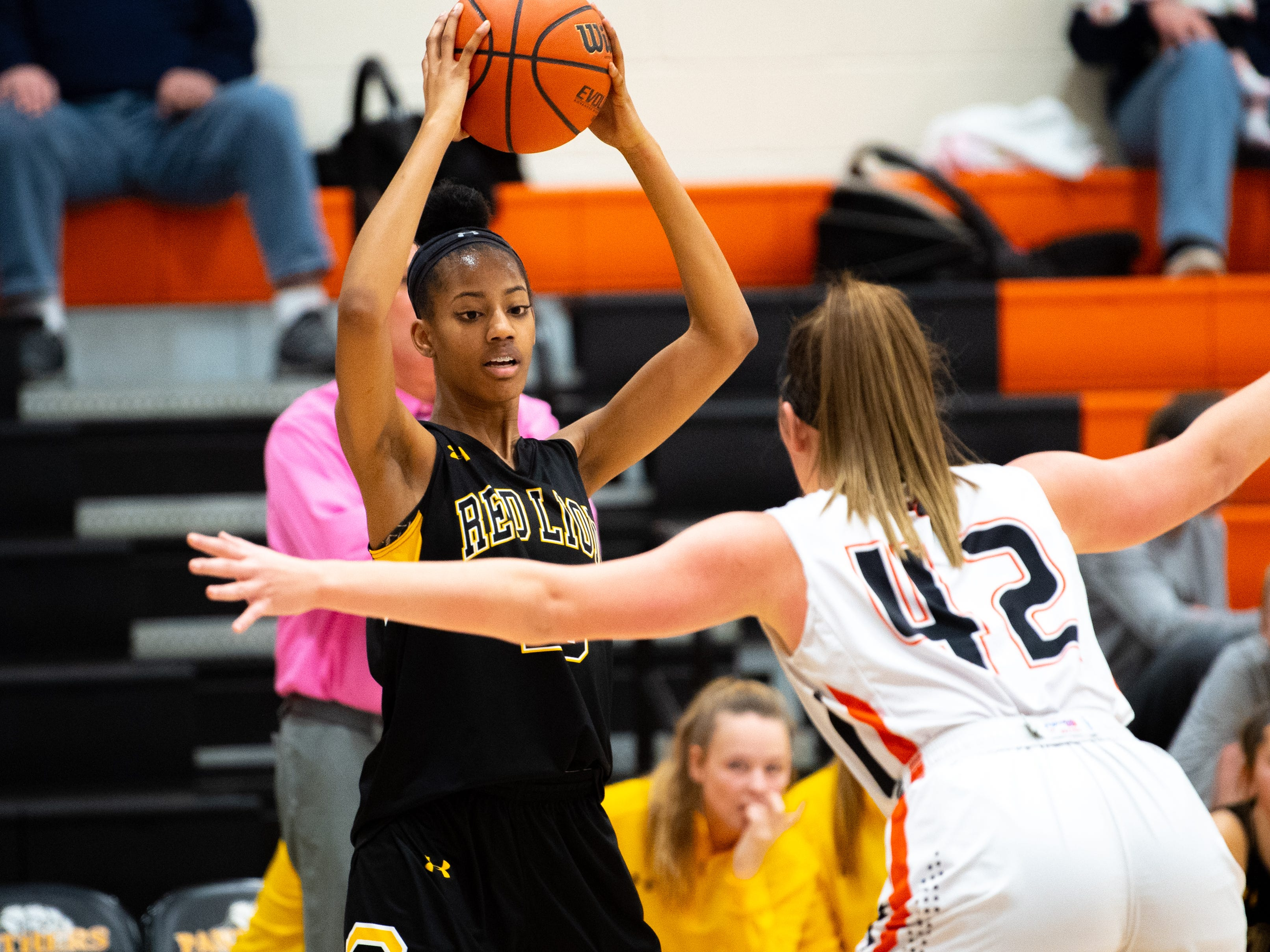 Makiah Shaw (20) sizes up the defense during the girls' basketball game between Central York and Red Lion at Central York, Tuesday, December 11, 2018. The Panthers defeated the Lions 40-38.