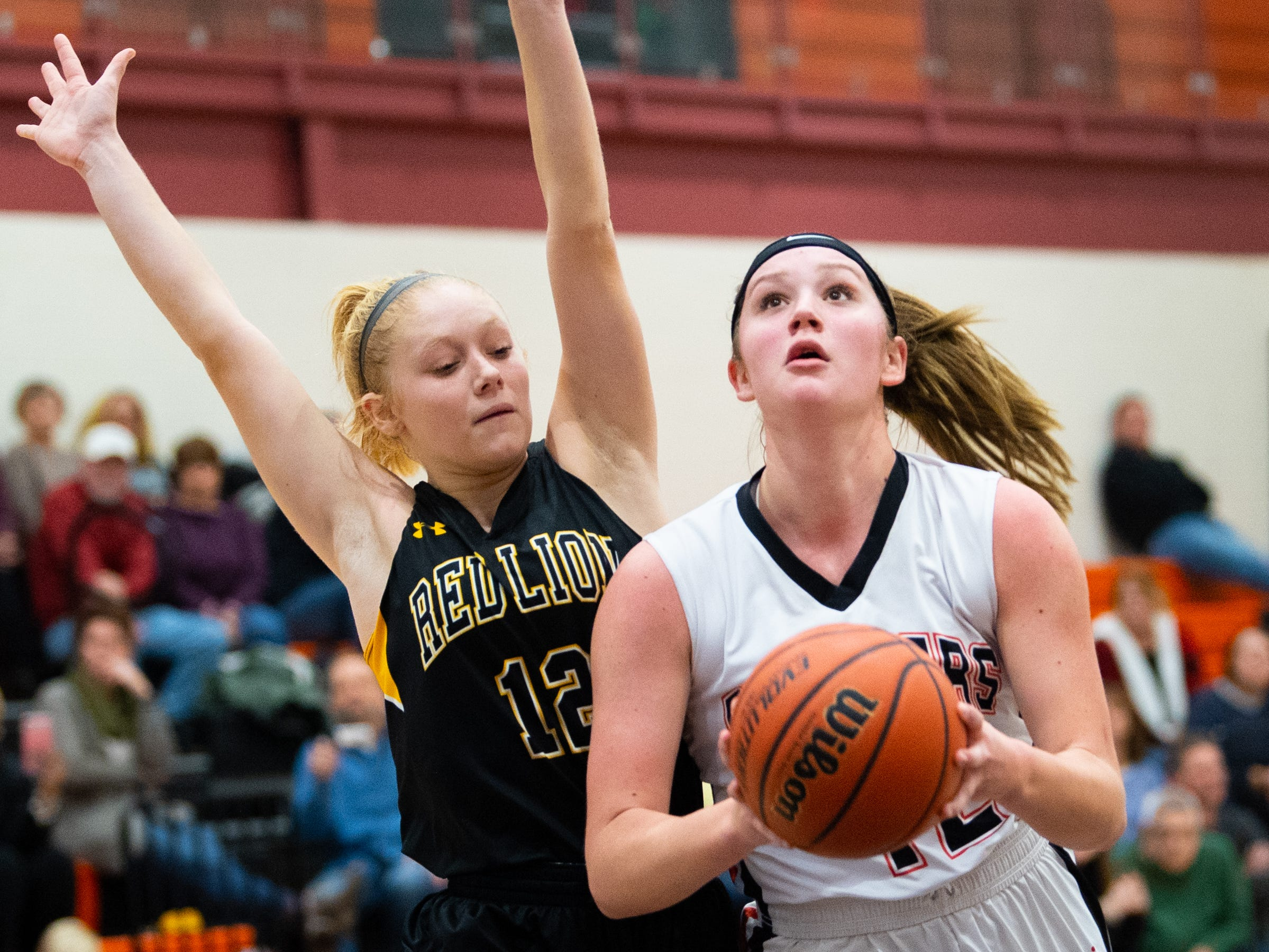 Emily Prowell (42) looks to score during the girls' basketball game between Central York and Red Lion at Central York, Tuesday, December 11, 2018. The Panthers defeated the Lions 40-38.
