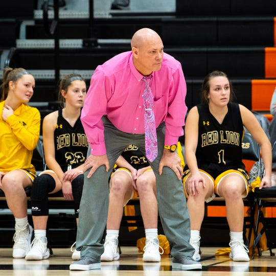 Red Lion head coach Don Dimoff watches a free throw during the girls' basketball game between Central York and Red Lion at Central York, Tuesday, December 11, 2018. The Panthers defeated the Lions 40-38.