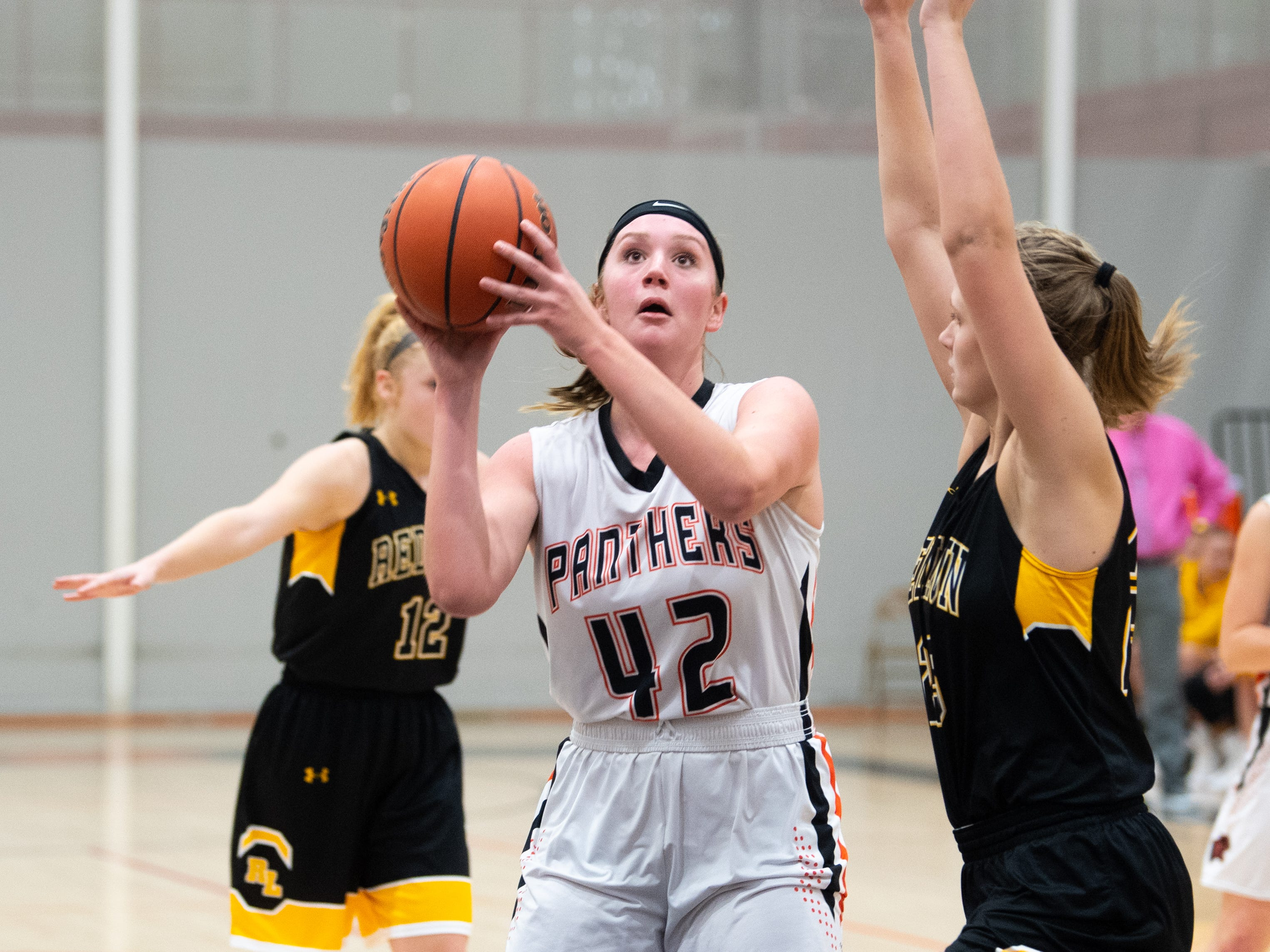 Emily Powell (42) has space to shoot during the girls' basketball game between Central York and Red Lion at Central York, Tuesday, December 11, 2018. The Panthers defeated the Lions 40-38.
