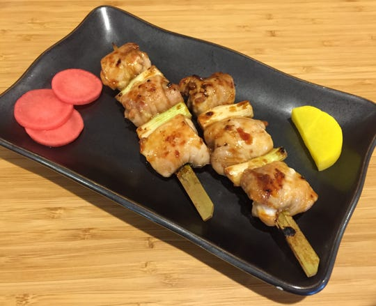 Haru restaurant in South Reno offers more than a dozen yakitori skewers, including this negima style threaded with chicken thighs and green onion.