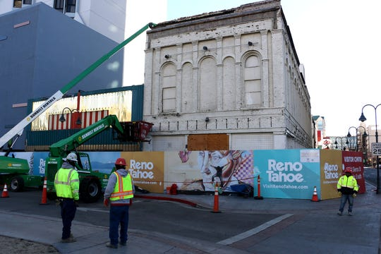 The early stages of demolition are seen at the Reno Mercantile Building, the oldest building in downtown Reno, on Dec. 12, 2018.