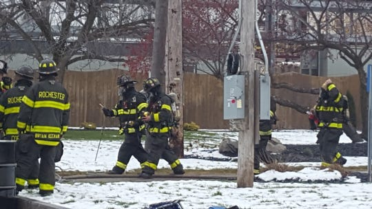 Rochester firefighters on scene of a chlorine gas leak on McKee Road Wednesday.