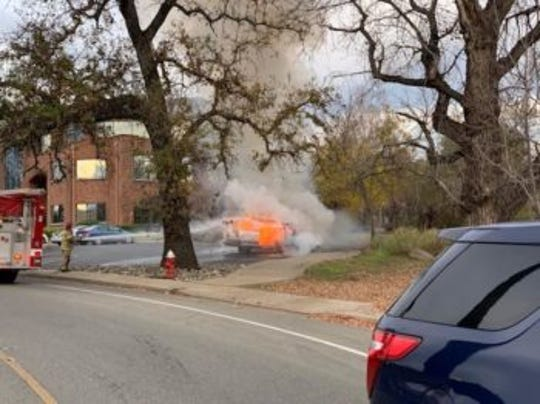 Redding police photographed a vehicle on fire.