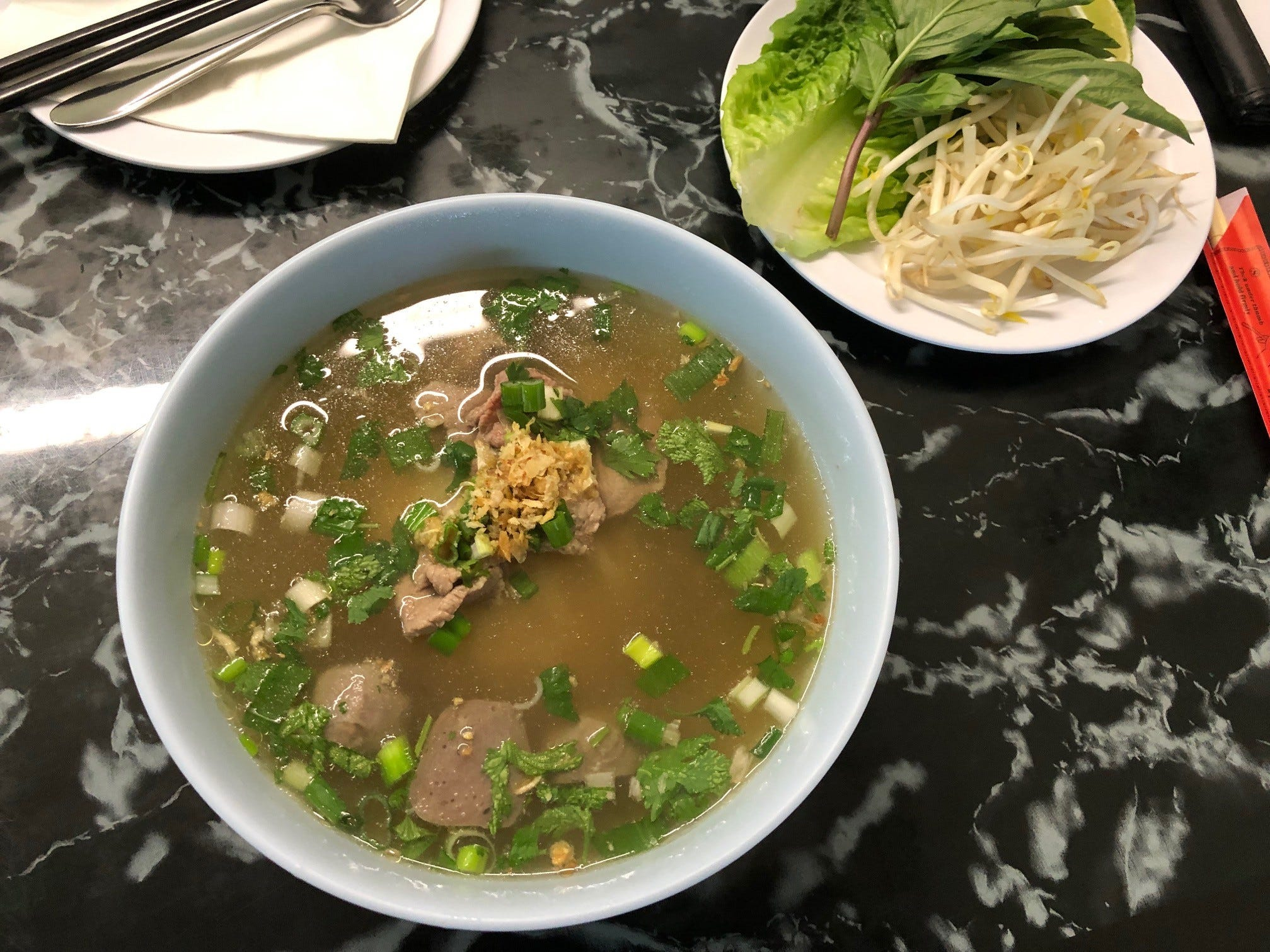 Small bowl of beef  pho at Kanya Asia Market in east Redding.