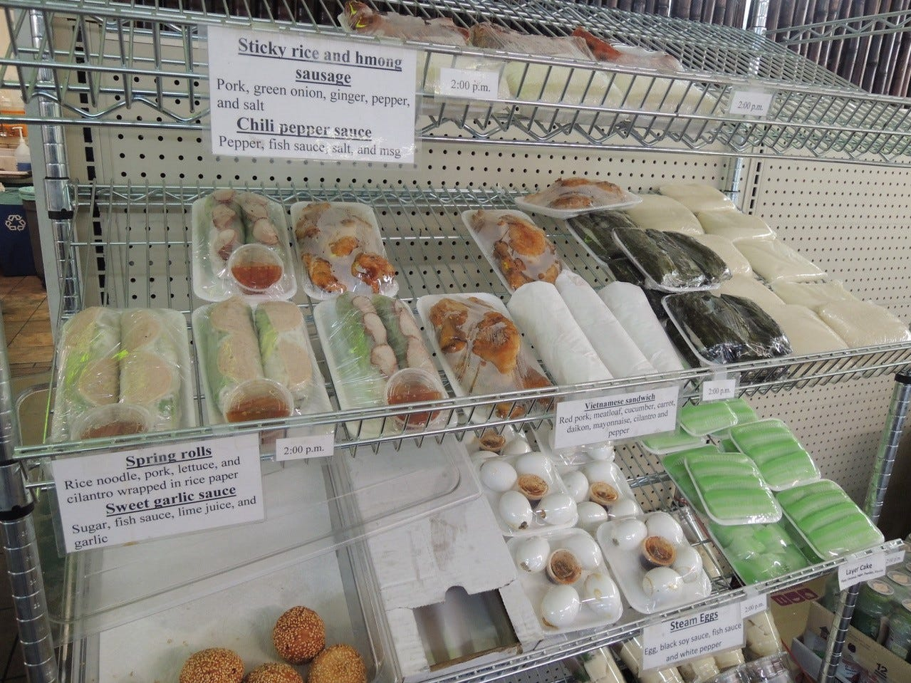 Some of the popular grab-and-go food items include spring rolls and steamed buns.