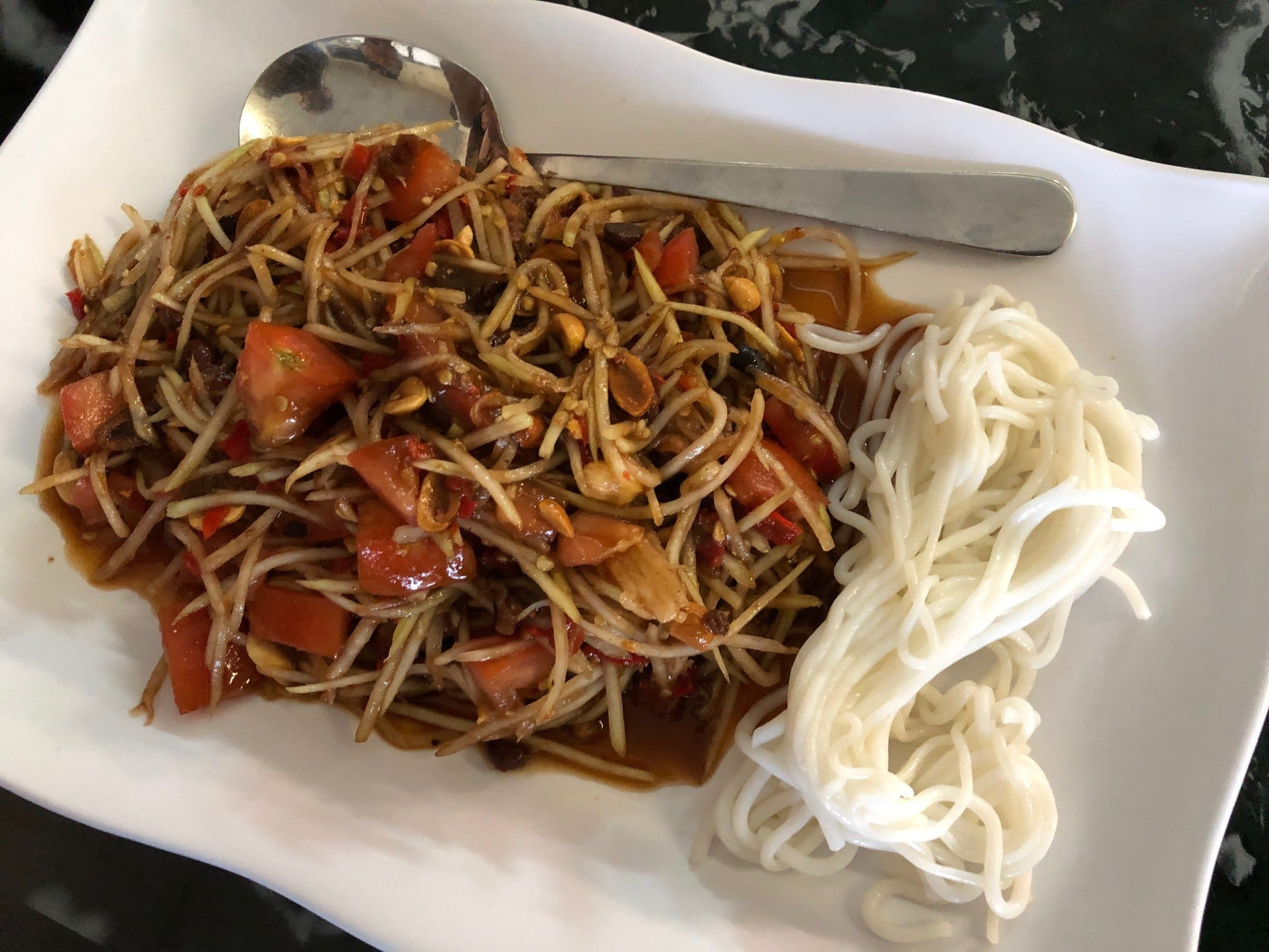 An order of the Lao-style papaya salad at Kanya Asia Market.