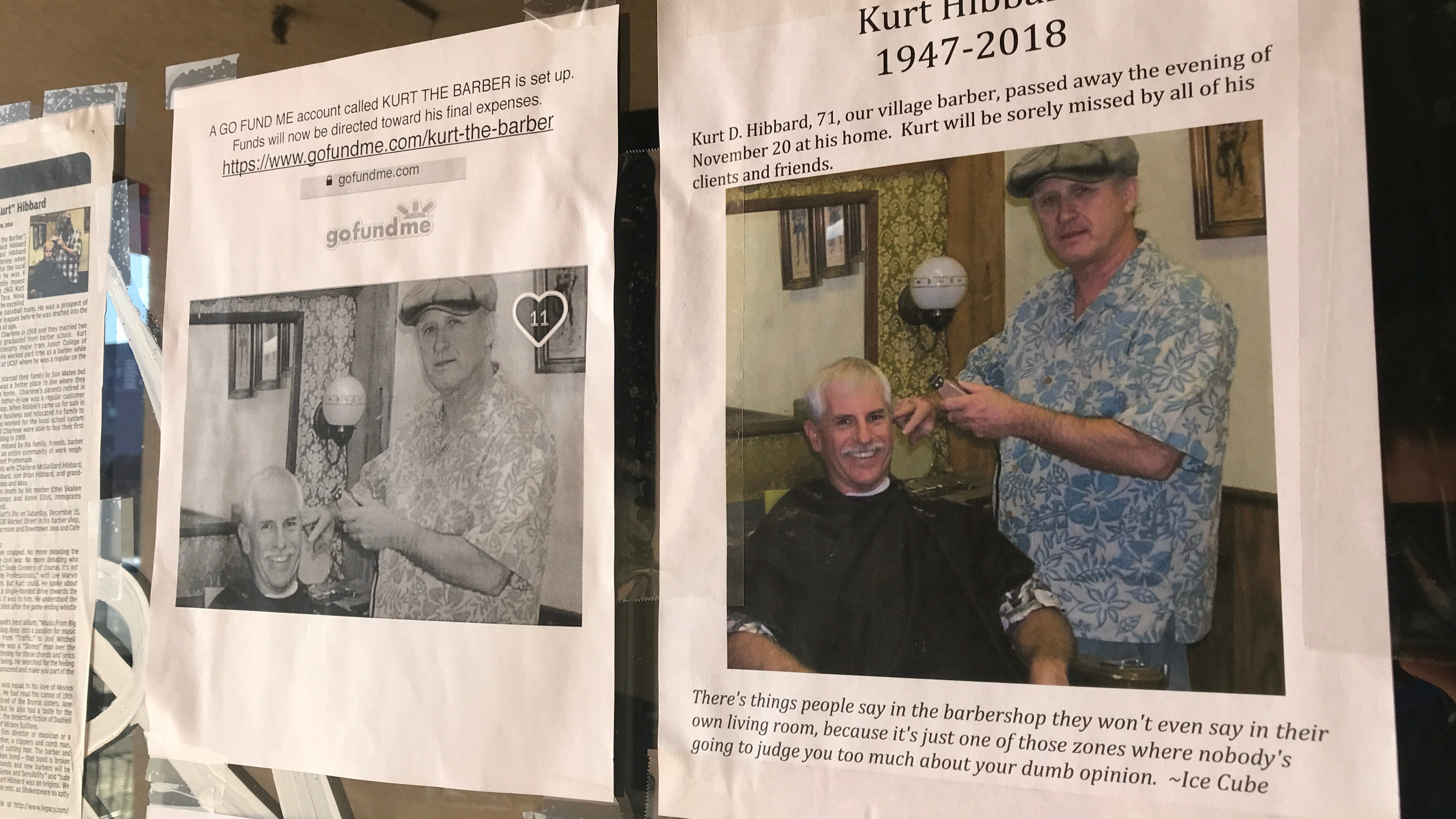 Friends and customers of Kurt Hibbard have posted remembrances of the barber on the window of his shop in the Market Street Promenade. Hibbard died last month. There will be a memorial Saturday at Downtown Java & Cafe.