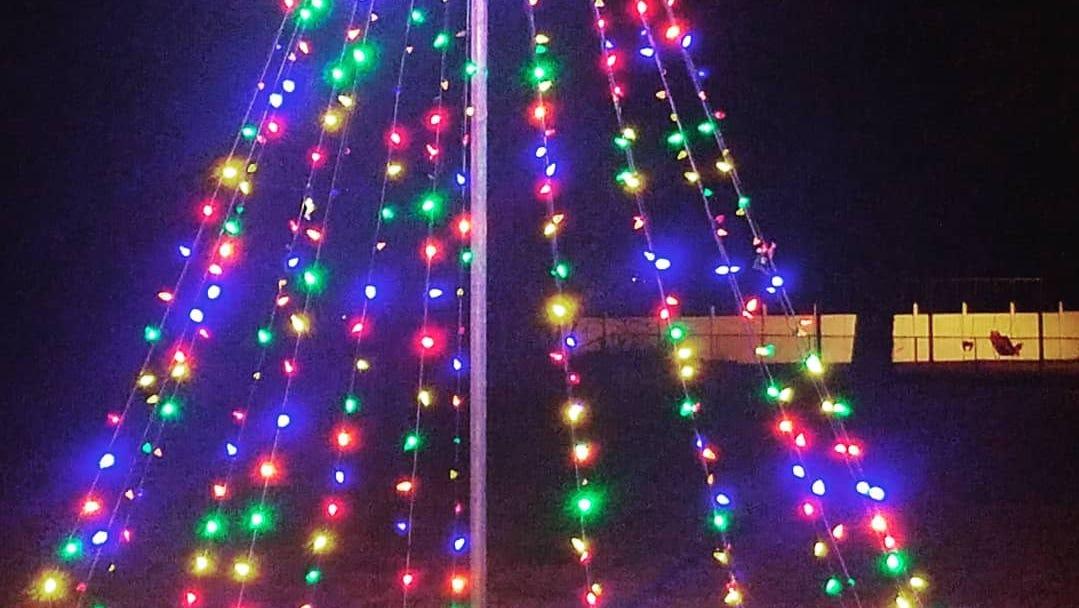 A Christmas tree of lights in Cheriton, Virginia in December 2018.