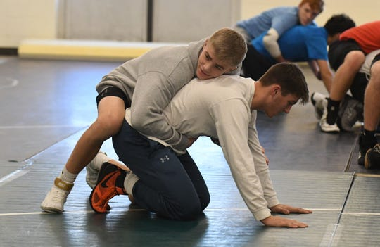 Parkside Senior Michael Daugherty (Gray Hoodie) during wrestling practice on Tuesday, Dec. 11, 2018.