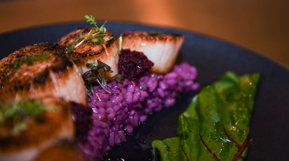 """Seared day boat scallops and butterfly pea """"purple"""" risotto at new Rehoboth Beach restaurant The Pines on Tuesday, Dec 11, 2018. The modern tavern aims to infuse classic dishes with creative, locally sourced ingredients."""