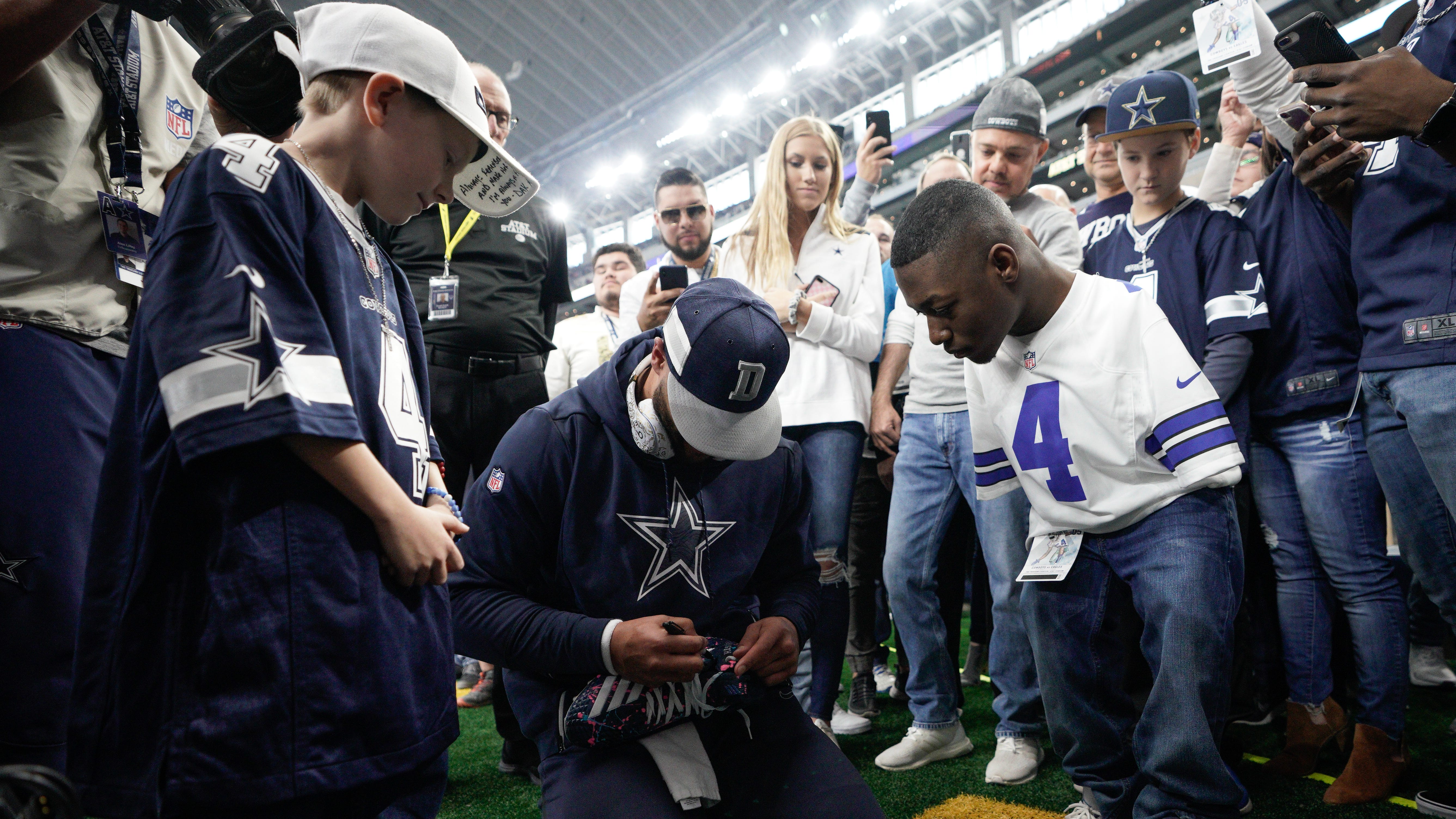 Friends parlay meeting at Haughton football camp, special cleats into emotional reunion, gutsy victory by Dak Prescott and the Dallas Cowboys