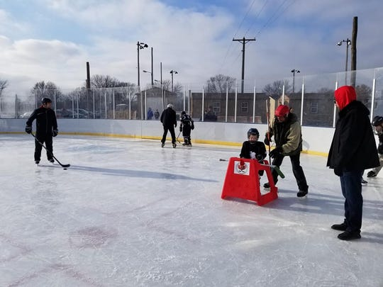 Hockey equipment is available for rent at the outdoor hockey facility at McHardy Park.