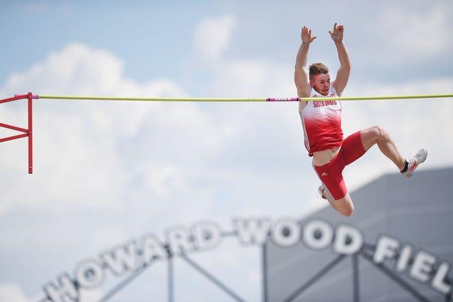 University of South Dakota's Chris Nilsen clears 19-2.75 feet at the Dakota Relays Saturday, May 5, at Howard Wood Field in Sioux Falls.