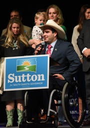 Billie Sutton gives his concession speech after loosing the governor's race to Kristi Noem, Tuesday, Nov. 6, at The District in Sioux Falls.