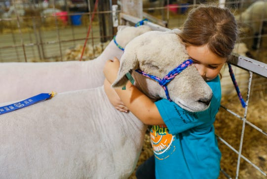 Ebony Loveday, 6, of Neosho, hugs her ewe Bubblegirl after she took first place in the Southdown yearling sheep competition at the Ozark Empire Fair on Saturday, July 28, 2018.