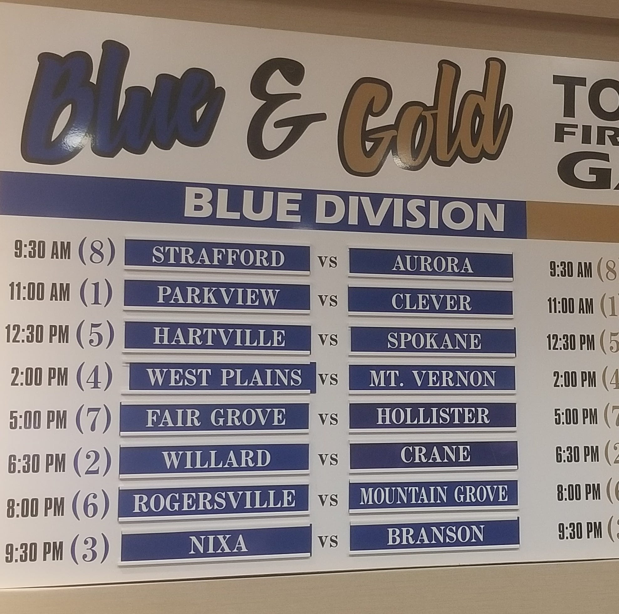 2018 Blue and Gold Basketball Tournament bracket released