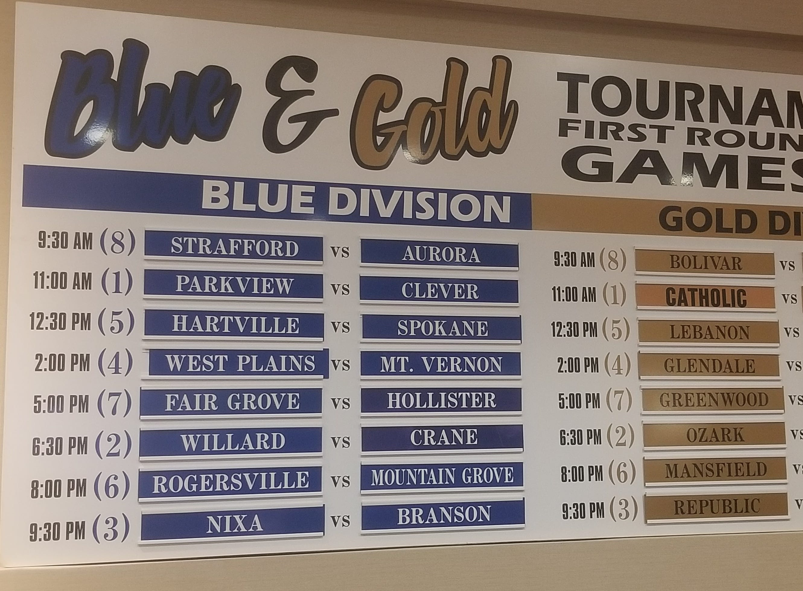 2018 Blue and Gold Basketball Tournament brackets released