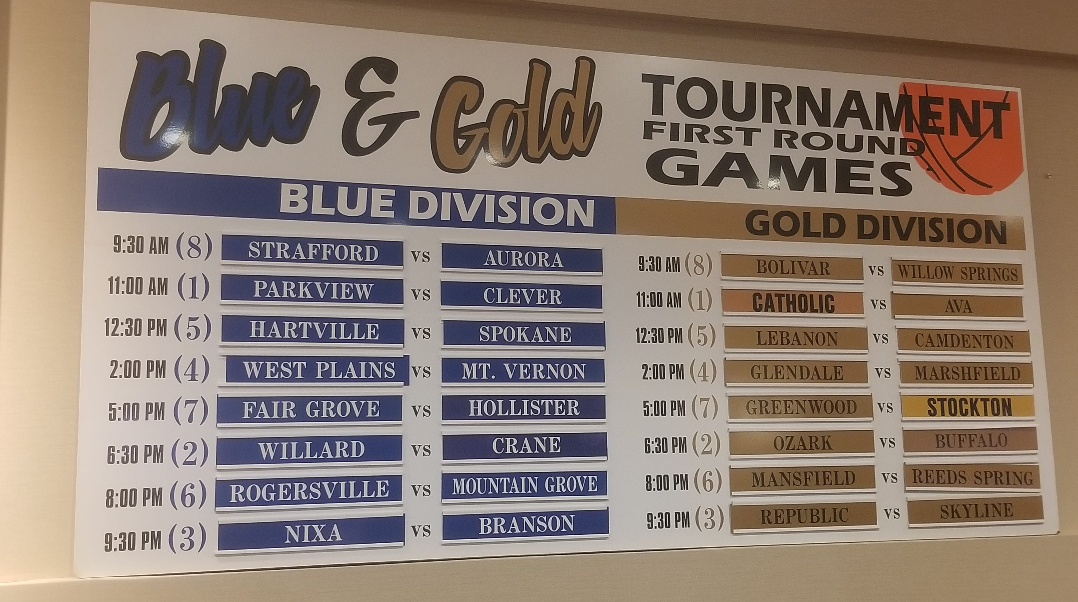 The 2018 Blue and Gold Tournament bracket has been set with Parkview and Springfield Catholic as the No. 1 seeds.