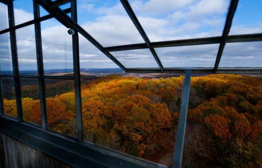 A fall  view from the top of a fire watch tower in the Hercules Glades Wilderness Area on  Nov. 9, 2018.