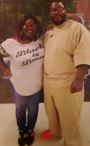 Inmate Rojai Fentress (right) with his fiancée, Alicia Wyatt.