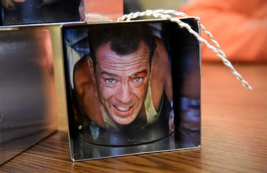"""A """"Die Hard"""" ornament made by Adam Lewis of Waite Park."""