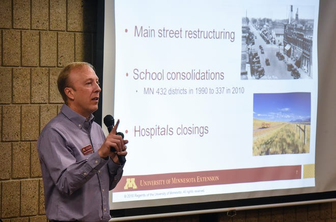 Researcher Benjamin Winchester speaks on changes in Minnesota's rural landscape during an event Wednesday, Dec.  12, at the Stearns History Museum in St. Cloud.