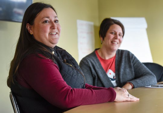 Mental health providers Megan Corrieri and Kim Christensen talk Friday, Dec. 7, at Sartell Pediatrics.