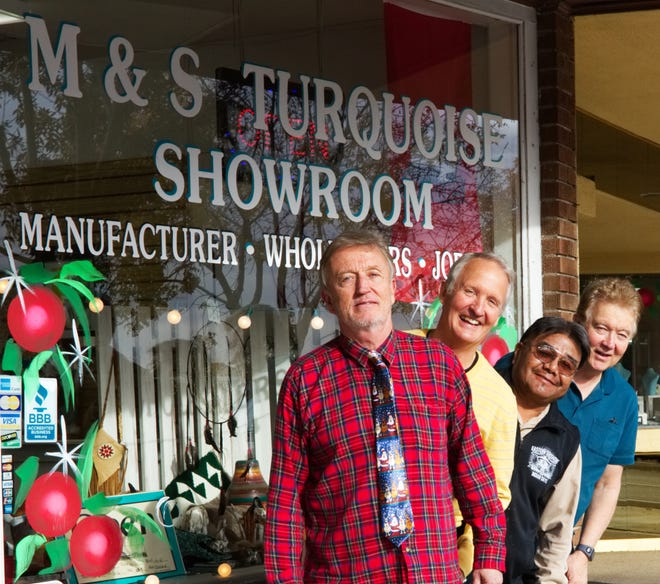 Utah: Jim Sevy, Bret Sevy, Glenn Rogers and Kent Sevy of M&S Turquoise are collecting items for the Shivwits Toy Drive at the store until Dec. 22.