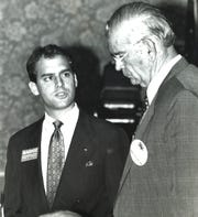 Challenger Scott Maddox addresses Hurley Rudd during a debate At Tiger Bay on August, 23 1990.