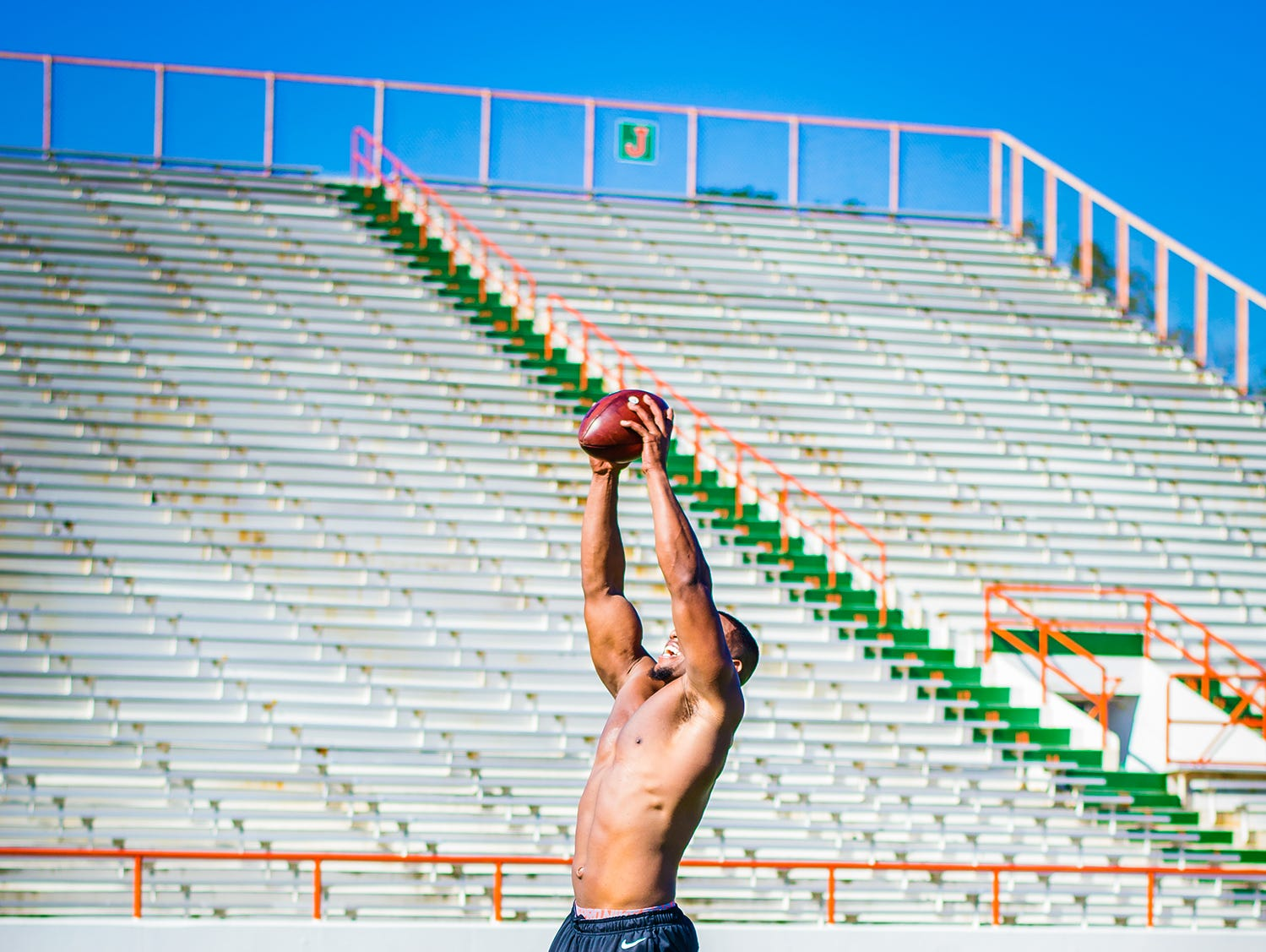 Former FAMU star Akil Blount leaps for a catch at Bragg Memorial Stadium. Blount will make his pro debut with the Orlando Apollos of the Alliance of American Football in February 2019.