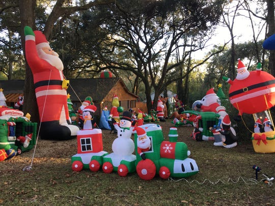 Inflatables abound at 3701 Sally Lane.