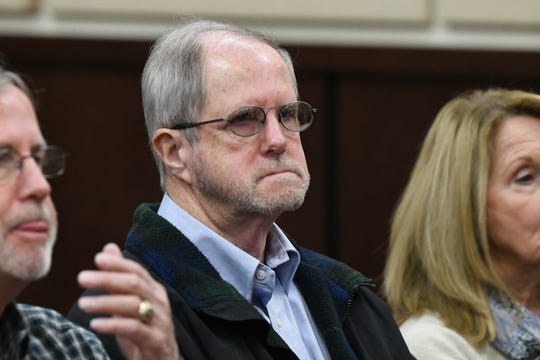 Mark Winchester, uncle of Brian Winchester, the man who confessed to shooting and killing his best friend, Mike Williams, attends the second day of the trial against Denise Williams for the murder of her husband Mike Williams, Wednesday, Dec. 12, 2018.