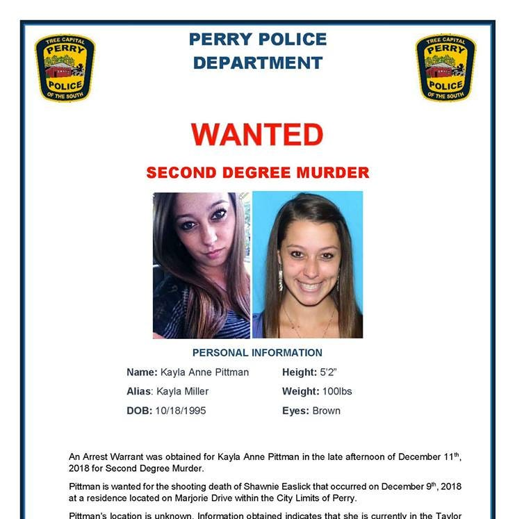Perry woman wanted in connection with Sunday shooting death of 25-year-old