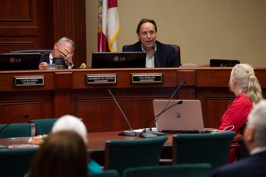 Councilman Val Zudans, center, is shown at a meeting Tuesday, Dec. 11, 2018, at Vero Beach City Hall. Zudans was critical of how the clerk's office handled the Nov. 6 election. Councilman Tony Young also is shown at the dais.
