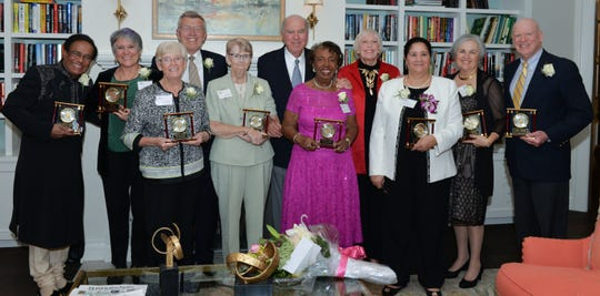 2018 Sage Award winners. Back Row: Dr. Shamsher Singh, Julia Kelly, Robert L. Crandall, H. William Lichtenberger, Rita May Wright, Julie Preast and Knight A. Kiplinger. Front Row: Sister Mary Dooley, Sister Katherine Kinnally, Mildred C. Gipson and Saadia Tsaftarides.