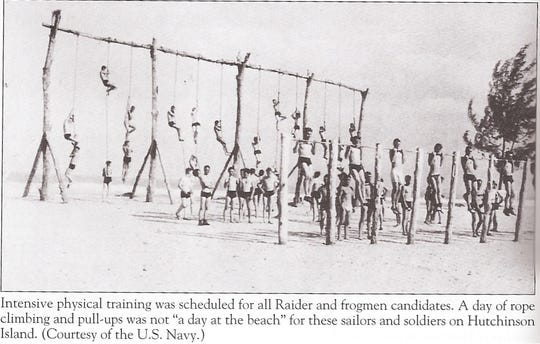 WWII recruits trained to be Raiders and Navy Frogmen on Hutchinson Island north of today's Ft. Pierce Inlet.