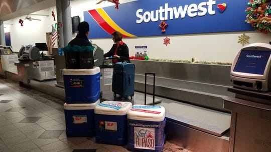 Christian Lopez, Convention Sales Manager with Visit El Paso, checked into the El Paso International Airport Wednesday morning with 700 tamales.