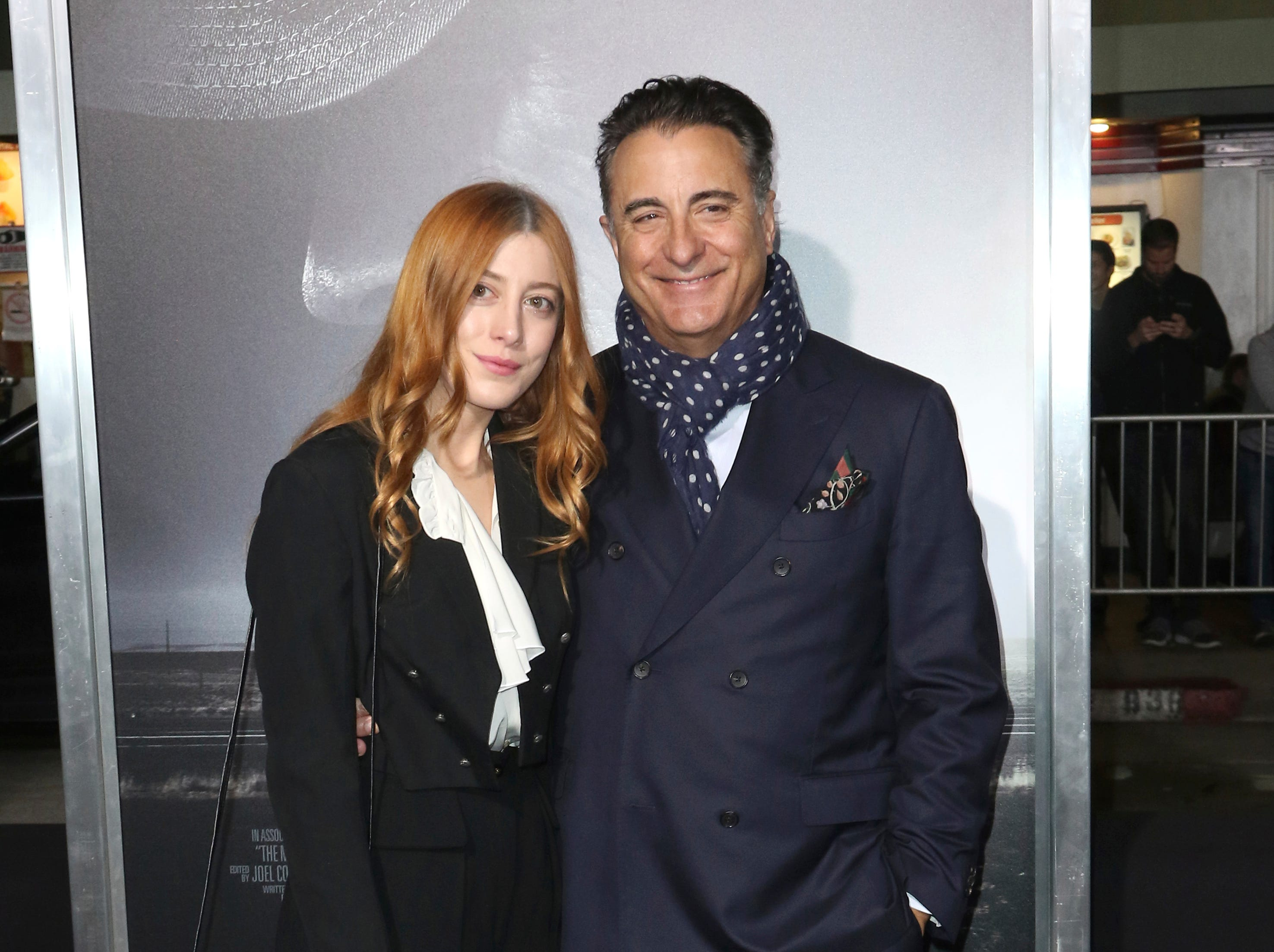 "Daniella Garcia, left, and her father Andy Garcia arrive at the world premiere of ""The Mule"" on Monday, Dec. 10, 2018, at the Westwood Regency Village Theatre in Los Angeles."