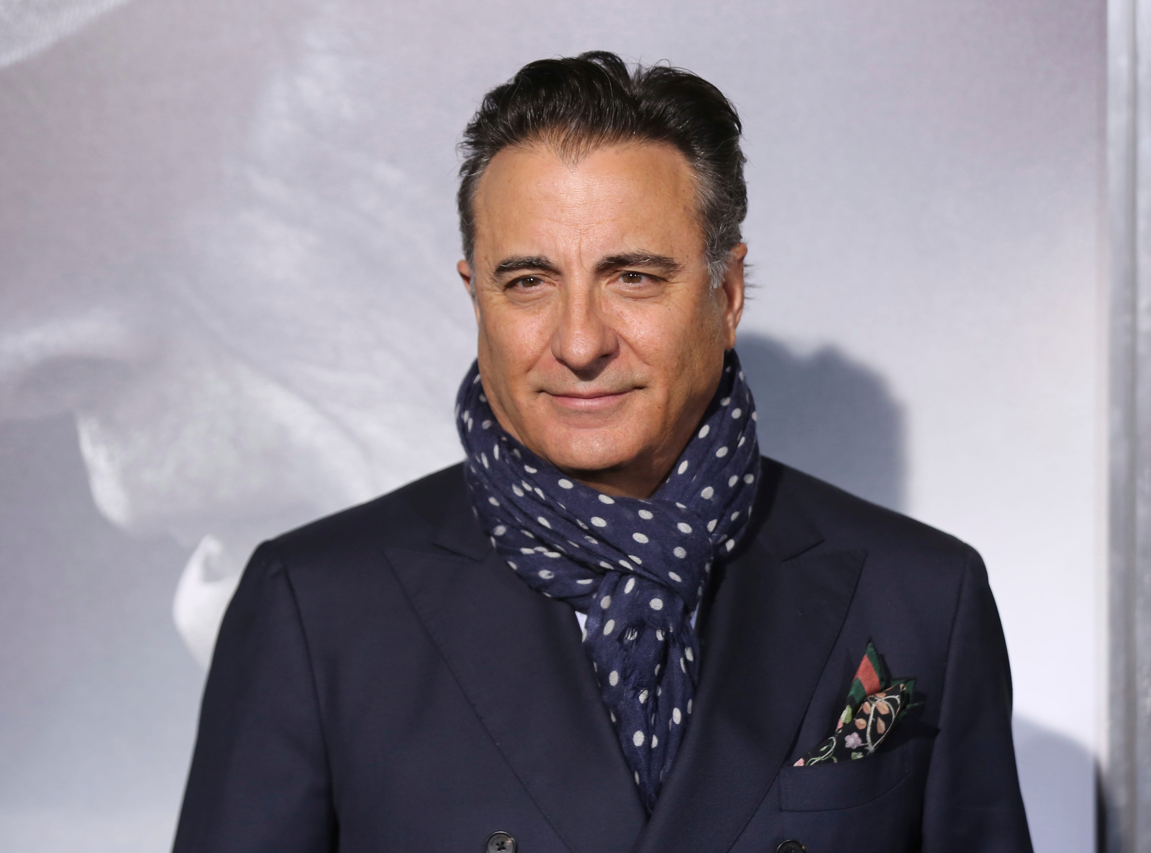 "Andy Garcia arrives at the world premiere of ""The Mule"" on Monday, Dec. 10, 2018, at the Westwood Regency Village Theatre in Los Angeles."