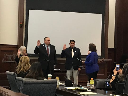New Ventura Unified school board trustees Matt Almaraz and Jerry Dannenberg  were sworn in Tuesday night.